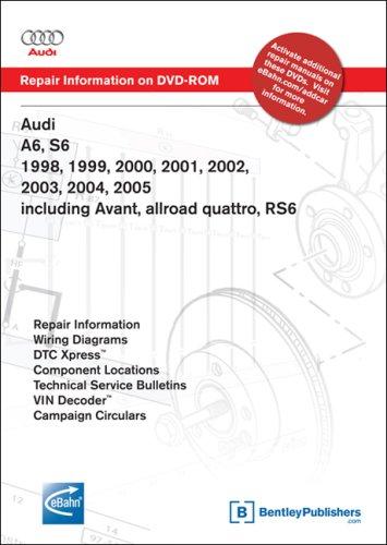 Audi A6, S6 1998, 1999, 2000, 2001, 2002, 2003, 2004, 2005 including Avant, allroad quattro, RS6 Repair Manual on DVD-ROM (Windows 2000/XP)