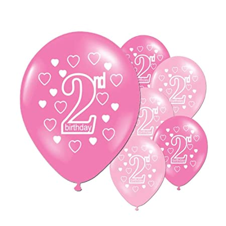 Leisuretime 10 Pcs Baby 2 Years Birthday Balloons Happy Printed Latex For Boys And Girls Party Decoration Pink