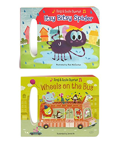 2 Pack Handled Board Books: Wheels on the Bus and Itsy Bitsy Spider (Sing & Smile Stories) ()