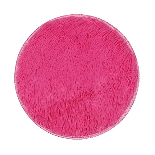 Floor Mat by Vibola 40/40CM Thickened Circular Carpet Mats Dining Room Bedroom Carpet (Hot Pink) by Vibola® (Image #1)