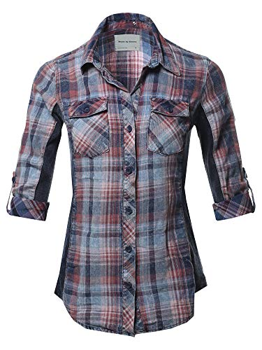 Casual Washed Plaid 3/4 Sleeve Button Down Shirt Denim Blue Mauve S