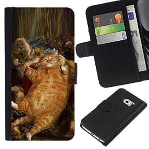 eJoy---La carpeta del tirón la caja de cuero de alta calidad de la PU Caso protector - Samsung Galaxy S6 EDGE - --Rubens Bacchus Cat Ginger Red Yellow