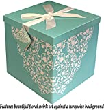 EndlessArtUS 12x12x12 Cassandra Pop up in Seconds EZ Gift Box with Decorative Ribbon Gift Tag and Tissue Paper 12 inches in Turquoise