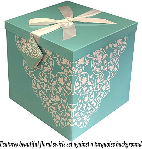 Wishes Paper Christmas 12x12 (Gift Box 12x12x12 Cassandra Pop up in Seconds comes with Decorative Ribbon mounted on the lid A Gift Tag and Tissue Paper - No Glue or Tape Required)
