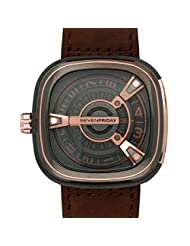 Seven Friday SF-M2-2 47x47.6mm Automatic Ion Plated Stainless Steel Case Brown Calfskin Anti-Reflective Sapphire Men's Watch