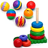 Tulatoo Baby & Toddler Sensory Stacking Toys - Wooden Rainbow Stacker Ring Tower and 6 Multi-Textured Sensory Ball Set