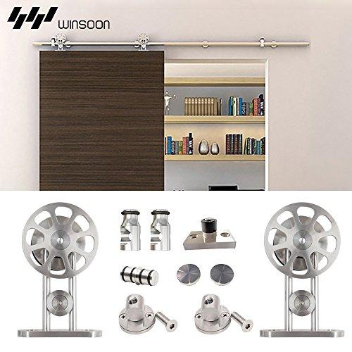 Winsoon 6.6FT Heavy Stainless Steel Roller Single Sliding Bran Door Hardware Track Wheel Set Silver Surface Hanging Wood Door (Dutch Door Kit compare prices)