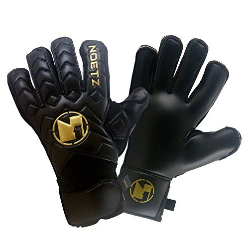 NoetZ Goalkeeper Gloves w/Extended Contact Palms - Black and Gold