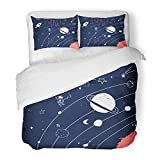 Emvency Bedding Duvet Cover Set Queen (1 Duvet Cover + 2 Pillowcase) Graphic Hand Drawing Space Cosmos Doodle Rocket Astronaut Astronomy Boy Cartoon Hotel Quality Wrinkle and Stain Resistant