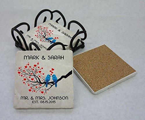 Tumbled Stone Mr and Mrs Coasters, Set of 4