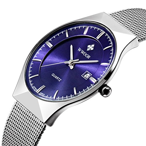 Quartz Watch Thin Silver Mesh Stainless Steel Band Wristwatch for Men with Calendar (Analog Blue Dial Watch)