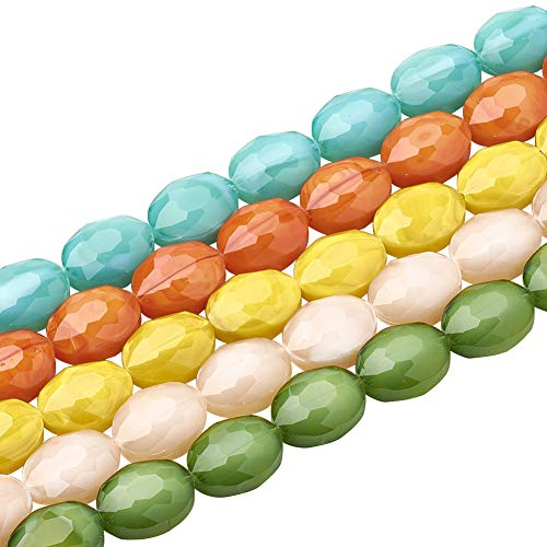 (PH PandaHall About 125pcs 5 Stands 16x12x7mm Mixed Color Oval Opaque Solid Color Glass Beads Strands Faceted Beads for Jewelry Necklace Craft Making, 14.96