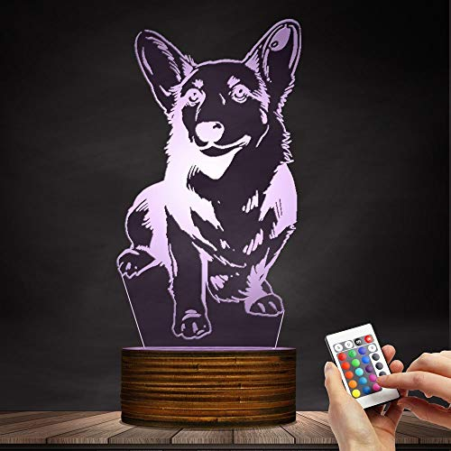 Novelty Lamp, Night Light 3D LED Lamp Optical Illusion Corgi Dog, 16 Color Remote Control Changes, with USB Charging Connector, Children's Birthday Gift Bedroom Decoration,Ambient Light by LIX-XYD (Image #7)