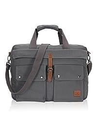 Hynes Eagle 17-inches Canvas Laptop Messenger Bag (Grey)