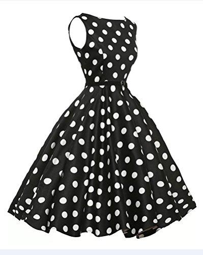 Mujeres Vintage Lunares Cóctel De Vestido Hepburn 50 Swing Cintura Negro Años De Pin Las Redondo Fiesta Cuello Estilo Vestidos Up Alta dB0wqdF
