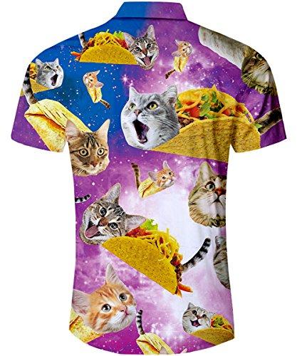 TUONROAD Shirt Mens Taco Cat 3D Printed Ugly Shirt Short Sleeve Casual Tropical Holiday Hawaiian Shirt Retro Button Dowm Funky Shirt M