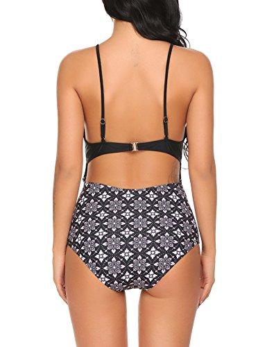 ADOME Womens Stylish One Piece Bikini Swimsuit for Vacation Black Medium