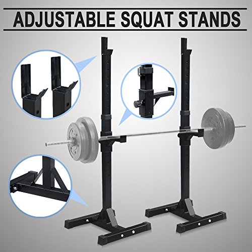F2C Pair of Adjustable Rack Sturdy Steel Squat Barbell Free Bench Press Stands GYM/Home Gym Portable Dumbbell Racks Stand (one pair/2 pcs) by F2C