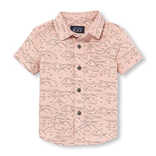 Baby Boy Shirt - The Children's Place Baby Boys Short Sleeve Button-up Shirt, Rose Dust 98079, 18-24MONTH