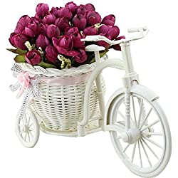 JAROWN Silk Rose Artificial Flowers Hand-woven Flower Baskets Mini Bicycle Garden for Home Wedding Decoration(Wine red)