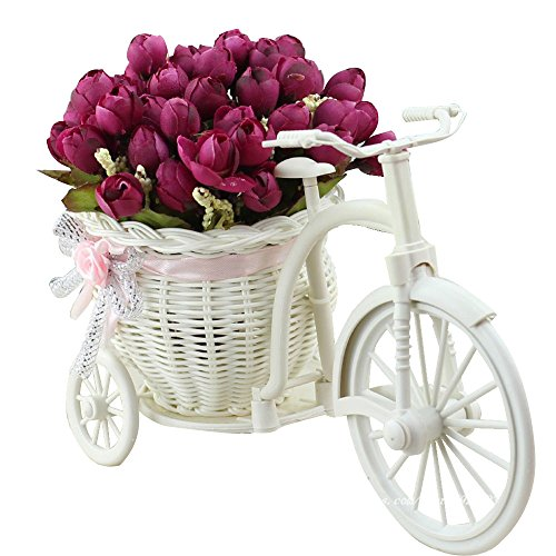 JAROWN Silk Rose Artificial Flowers Hand-woven Flower Baskets Mini Bicycle Garden for Home Wedding Decoration(Wine (Well Planter Basket)