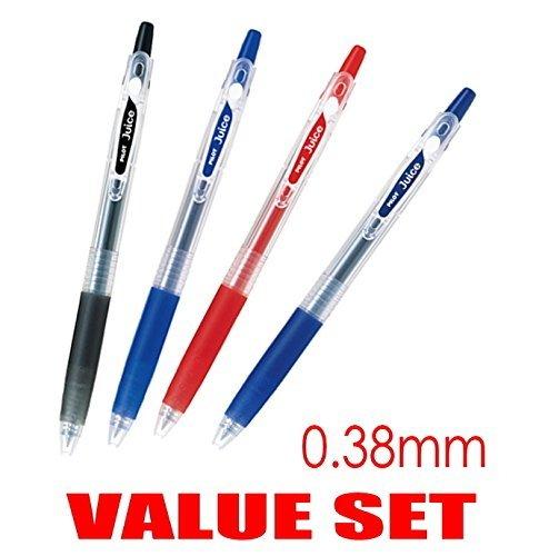 Pilot Juice Retractable Premium Gel Ink Roller Ball Pens, Ultra Fine Point 0.38mm, Black, Blue, Red and Blue Black Ink, Each 1 Pen- value Set of 4