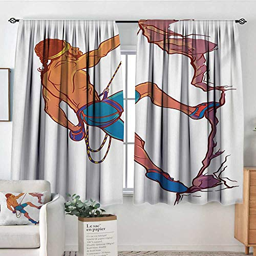 All of better Indie Blackout Window Curtain Athletic Man Climbing Up The Cliff Rocky Mountain Professional Summer Sports Waterproof Window Curtain 55