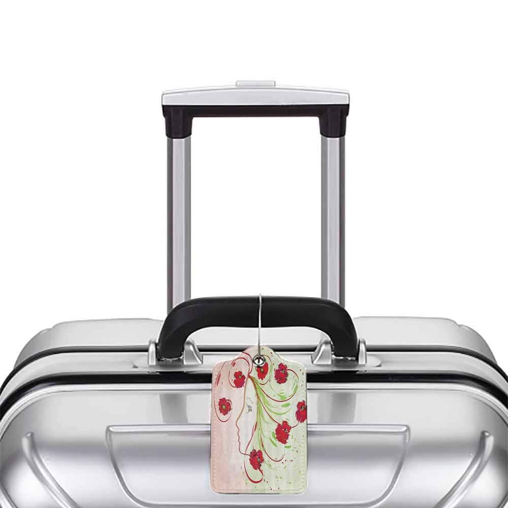 Modern luggage tag Watercolor Flower Decor Girl Profile Poppies Floral Hair in Watercolor Effect Artistic Design Print Suitable for children and adults Green Red W2.7 x L4.6