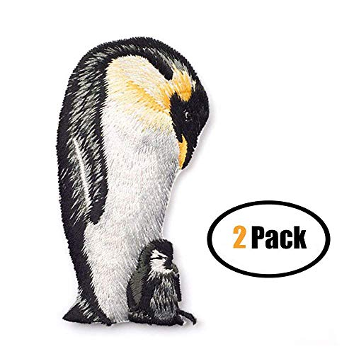 ZOOPOLR 2 Pack Delicate Embroidered Patches, Cute Penguin Embroidery Patches, Iron On Patches, Sew On Applique Patch, Custom Backpack Patches for Boys, Girls, Kids, Super Cute!