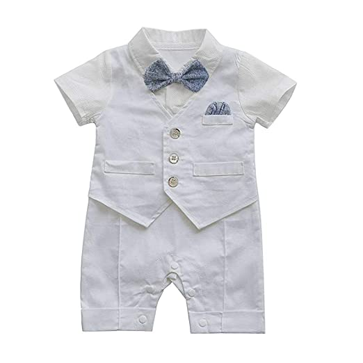 aab92eb8d NUWFOR Infant Baby Boys Gentleman Waistcoat Bowtie Tuxedo Jumpsuit Romper  Outfits(White,66)