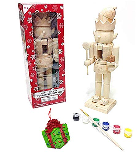Large Elf King Paint It Yourself Traditional Decorative Holiday Season Wooden Christmas Nutcracker Craft & Bonus Tree Ornament