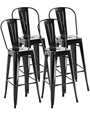 HOMCOM 30'' Bar Stool, Set of 4 Bar Height Chair with Metal Frame for Kitchen Industrial Breakfast Bistro Cafe Black