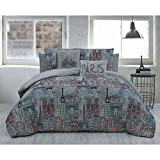 5pc Grey Pink Blue Girls I Love Paris Theme Comforter King Set, Gray Light Teal, Eiffel Tower French Bike Famous Building Themed Pattern, France Inspired Bicycle Bedding