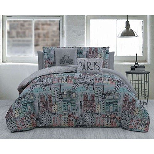 5pc Grey Pink Blue Girls I Love Paris Theme Comforter King Set, Gray Light Teal, Eiffel Tower French Bike Famous Building Themed Pattern, France Inspired Bicycle Bedding by OSD
