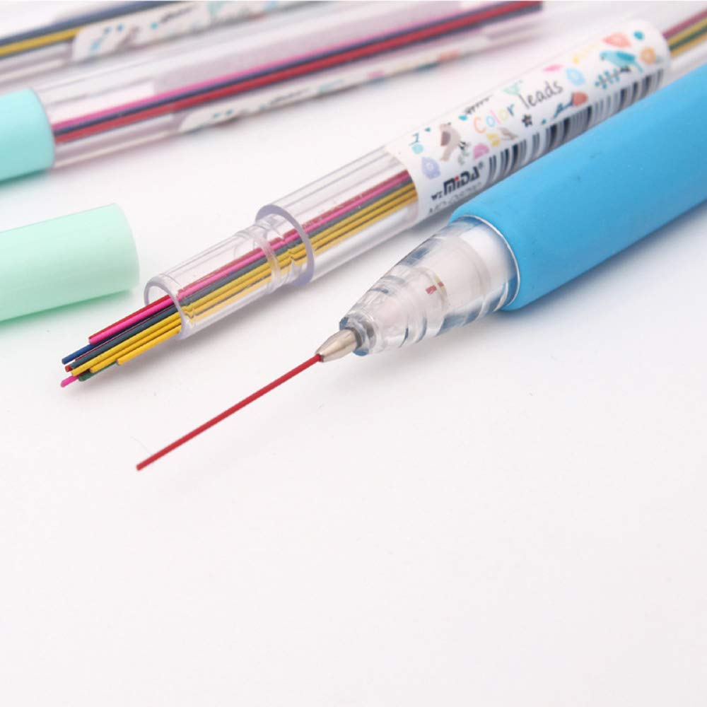 0.7 mm HB Strong Break Resistant Smooth Hi-Polymer Lead Refills 90 Roots MAXGOODS 6 Tubes Mechanical Pencil Colored Lead Refills