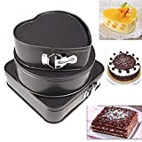 Unmengii 3Pcs/set Kitchen with Buckle Stainless Steel Heart Square Round Cake Pans Mould Bakeware