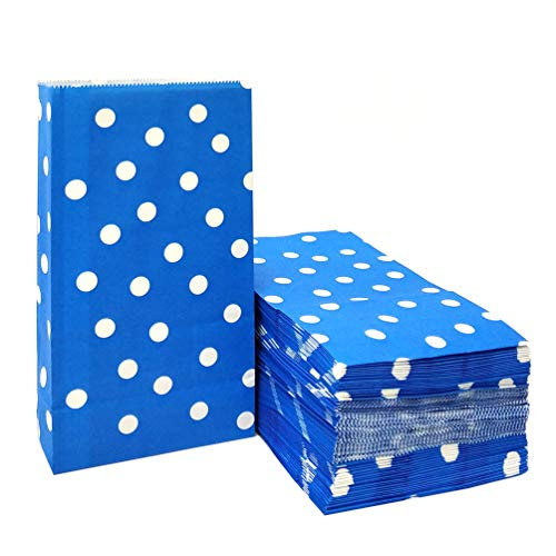 ADIDO EVA 100 PCS Paper Party Favor Bags Blue Polka Dot Paper Lunch Bags for Sweets Biscuits Nuts Chocolates Christmas Gifts Birthday Wedding Party (5.1 x 3.1 x 9.4 in Blue)]()
