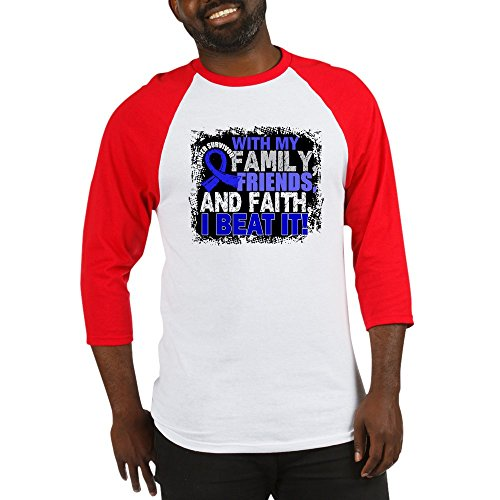 CafePress Colon Cancer Survivor Familyfriend Cotton Baseball Jersey, 3/4 Raglan Sleeve Shirt Red/White
