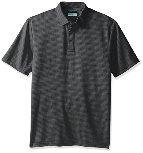 PGA TOUR Men's Short Sleeve Driflux Jacquard Polo, Caviar, Large