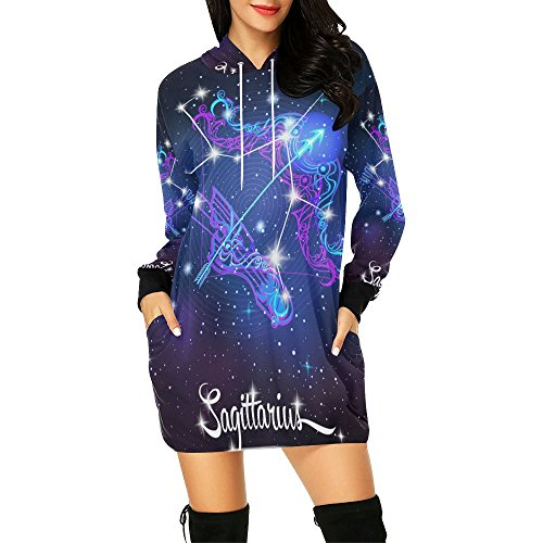 Lumos3DPrint Constellation Zodiac Sign Sagittarius Women's Pullover Hoodie Sweatshirt Dress