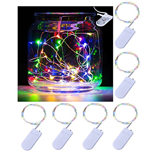 Pack of 6 LED Moon Lights 20 Micro Starry LEDs on Copper Extra Thin Silver Wire, 2 x CR2032 Batteries Required and Included, 5 Ft (1.5m) for DIY Wedding Centerpiece or Table Decorations (Multicolored)