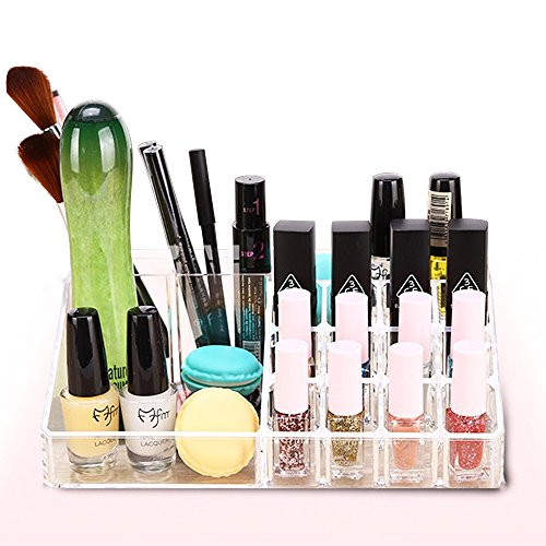 Lipstick Makeup Cosmetic Organizer, Acrylic Cosmetic Conceal Lipstick Lip Gloss Nail Polish Eyeshadow Brushes Storage Display Boxes Organizer