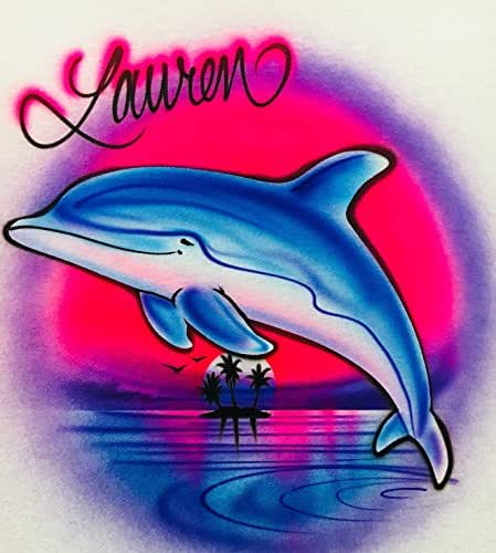 Amazon.com: Airbrush T Shirt, Dolphin Leaping, Pink And