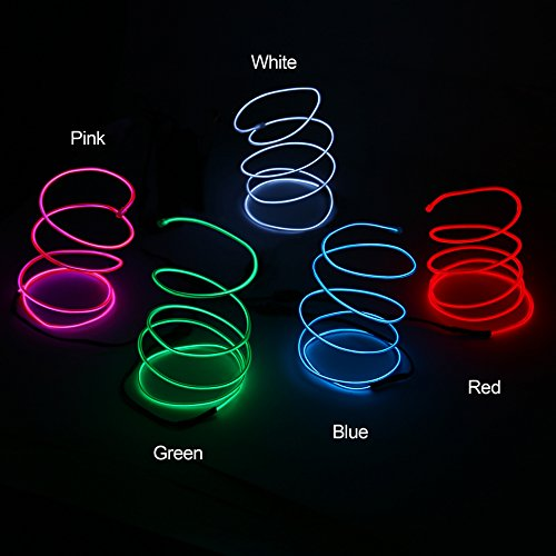 Blazing Fun Shapable EL Wire, Neon Glowing Led Cable/EL Wire with AA Battery Inverter for Halloween Christmas Party DIY Decoration, 5 by 1 Meter(White/Blue/Red/Green/Pink)]()