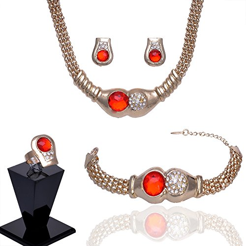 Julycoffee 18k Gold Plated Round Red Crystal Necklace Earrings Bracelet Ring Jewelry Set