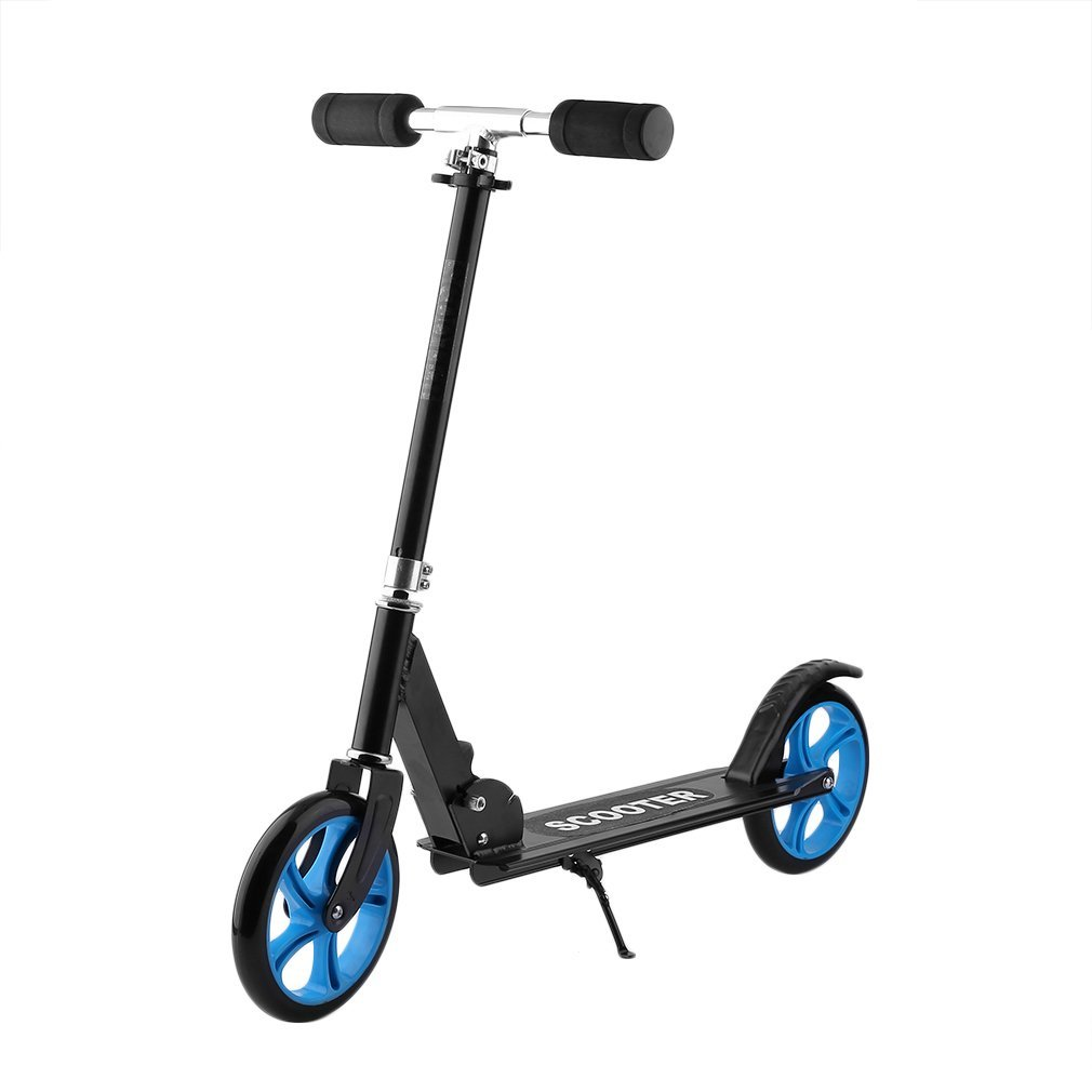 Homgrace Patinete plegable con 2 ruedas grandes, scooter patinete altura ajustable y carga 100kg (Negro)