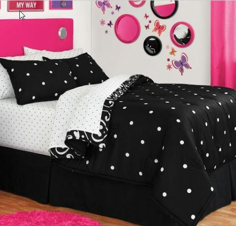 Black & White Polka Dot Reversible Queen Comforter Set (8 Piece Bed In A Bag)