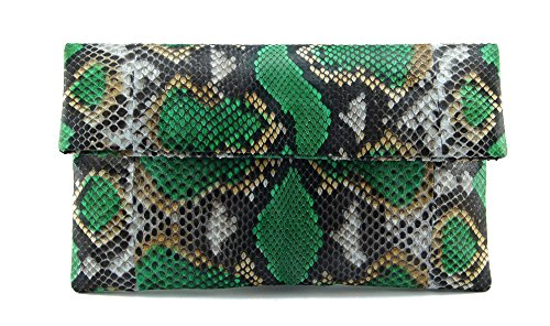 - Genuine Emerald Green and Onyx Python Leather Classic Foldover Clutch Bag