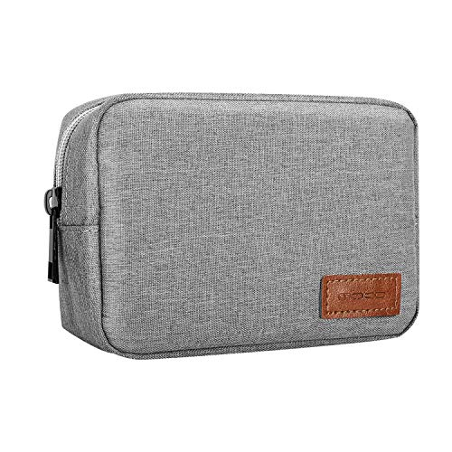 MoKo Electronics Accessories Case, 6.5″ Polyester Carrying Travel Electronics Accessories Organizer Universal Cable Management Hard Drive Bag for Power Cord, USB, Charger, AC Adapter – Gray