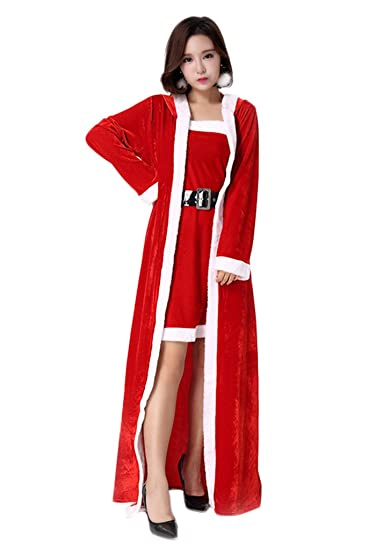 2fe4f1a68bb2 COMVIP Women Santa Girl Costume Role Play Christmas New Year Dress Red:  Amazon.co.uk: Clothing